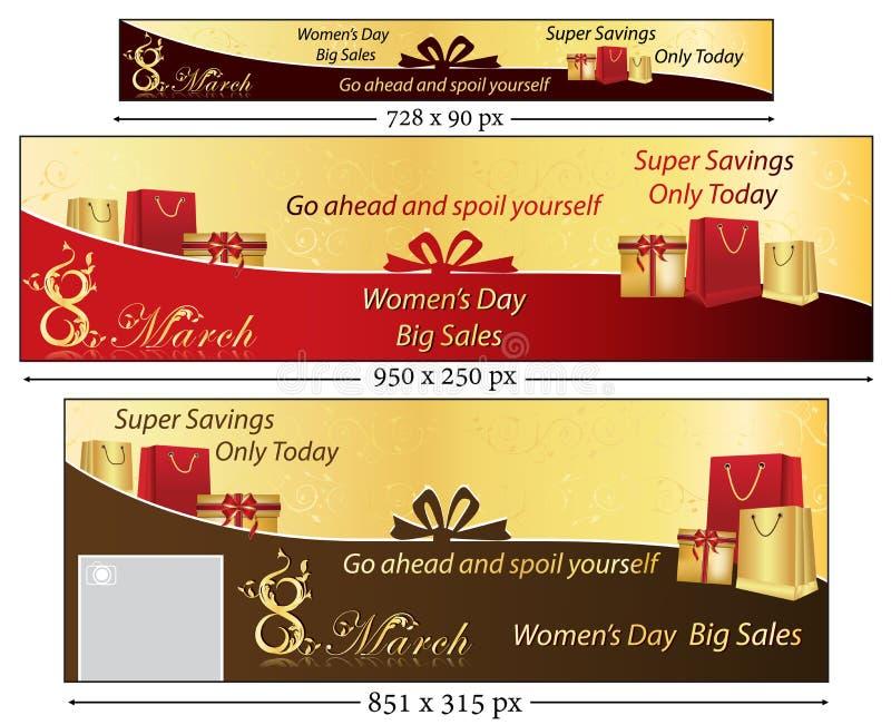8 Μαρτίου έμβλημα που τίθεται για την ημέρα των γυναικών διανυσματική απεικόνιση