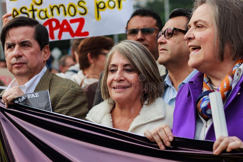 18 Μαρτίου 2019 - αρμοδιότητα Μαρτίου για την υπεράσπιση του JEP, ειδική για την ειρήνη Bogotà ¡ Κολομβία στοκ εικόνα