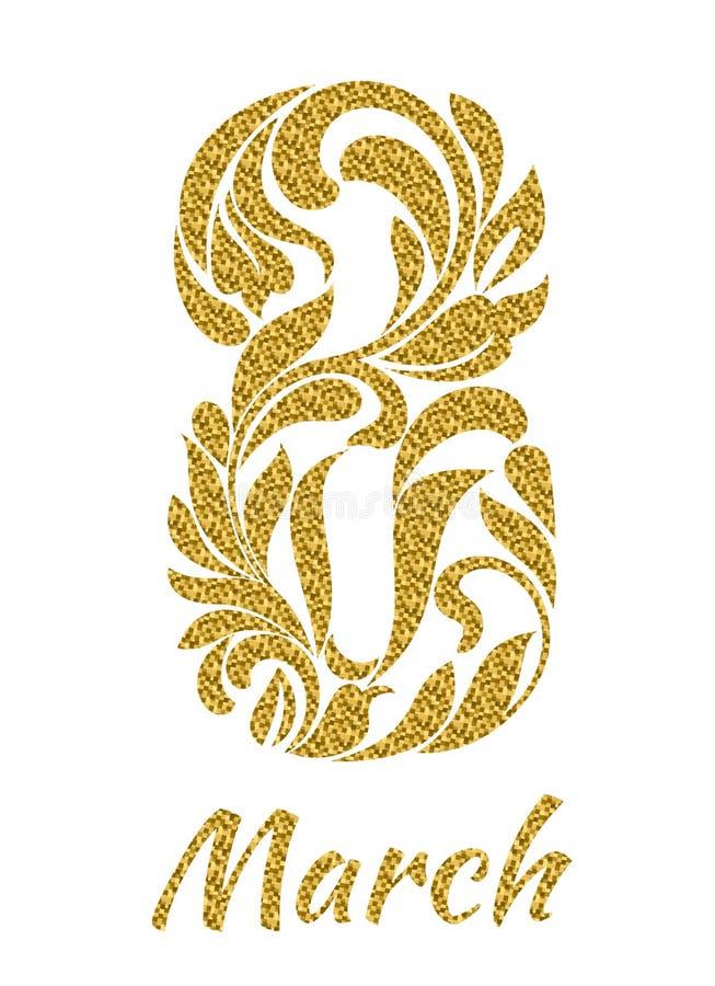 8 Μαρτίου Διακοσμητική πηγή φιαγμένη από στροβίλους και floral στοιχεία με διανυσματική απεικόνιση