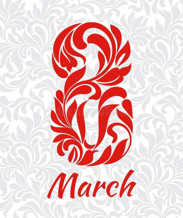 8 Μαρτίου Διακοσμητική πηγή φιαγμένη από στροβίλους και floral στοιχεία ΤΣΕ ελεύθερη απεικόνιση δικαιώματος