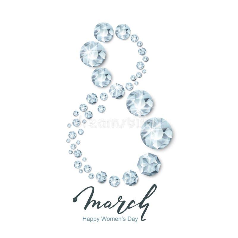 8 Μαρτίου διανυσματική ευχετήρια κάρτα, διεθνής ημέρα γυναικών ` s Αριθμός οκτώ τρισδιάστατα ασημένια διαμάντια, πολύτιμοι λίθοι, ελεύθερη απεικόνιση δικαιώματος