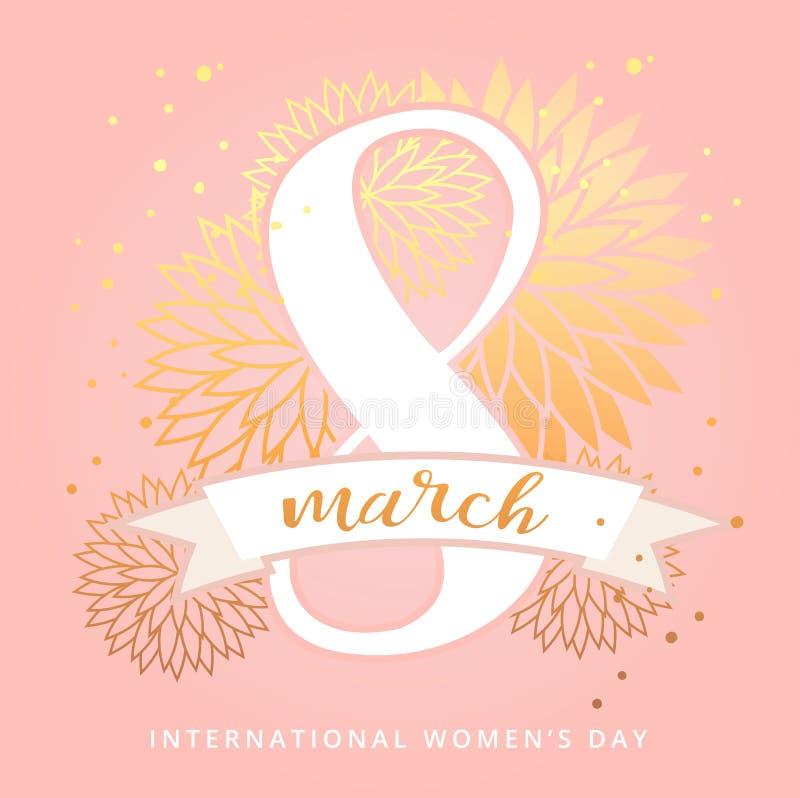 8 Μαρτίου διεθνής ευχετήρια κάρτα σχεδίου ημέρας γυναικών ` s με τη χειρόγραφη εγγραφή και συρμένη τη χέρι floral διακόσμηση πολυ ελεύθερη απεικόνιση δικαιώματος