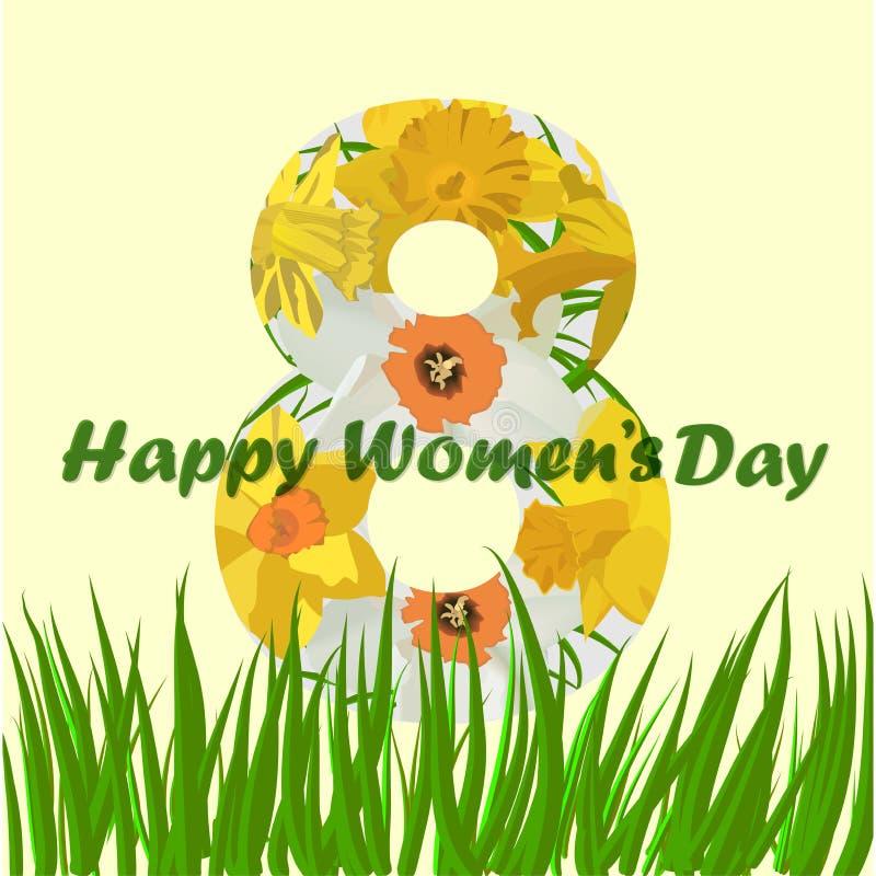 8 Μαρτίου ευχετήρια κάρτα ημέρας γυναικών s 8 Μαρτίου κάρτες σχεδίου με τα λουλούδια ναρκίσσων απεικόνιση αποθεμάτων