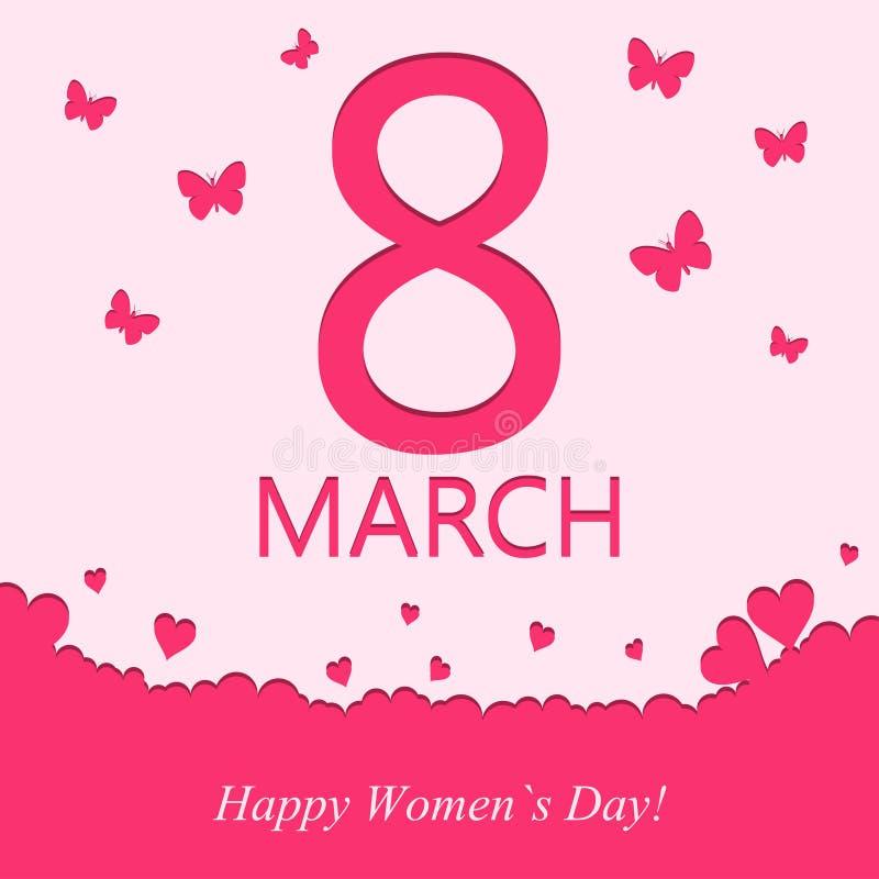8 Μαρτίου ευχετήρια κάρτα Πρότυπο για το έμβλημα διακοπών ημέρας γυναικών ` s με την καρδιά και πεταλούδα στο ρόδινο χρώμα διάνυσ απεικόνιση αποθεμάτων