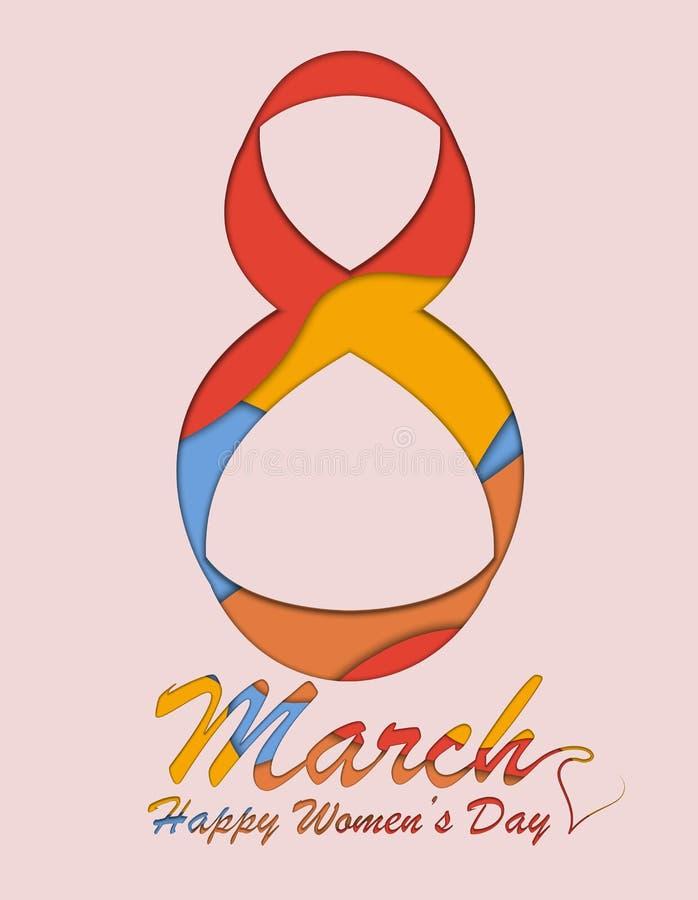 8 Μαρτίου ευχετήρια κάρτα Πρότυπο υποβάθρου για την ημέρα της διεθνούς γυναίκας επίσης corel σύρετε το διάνυσμα απεικόνισης ελεύθερη απεικόνιση δικαιώματος