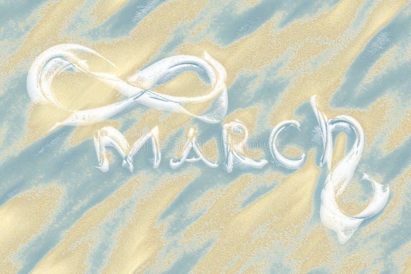 8 Μαρτίου ευχετήρια κάρτα Υπόβαθρο για την ημέρα των διεθνών γυναικών Εγγραφή που γίνεται από το ελεφαντόδοντο στην άμμο ερήμων,  διανυσματική απεικόνιση