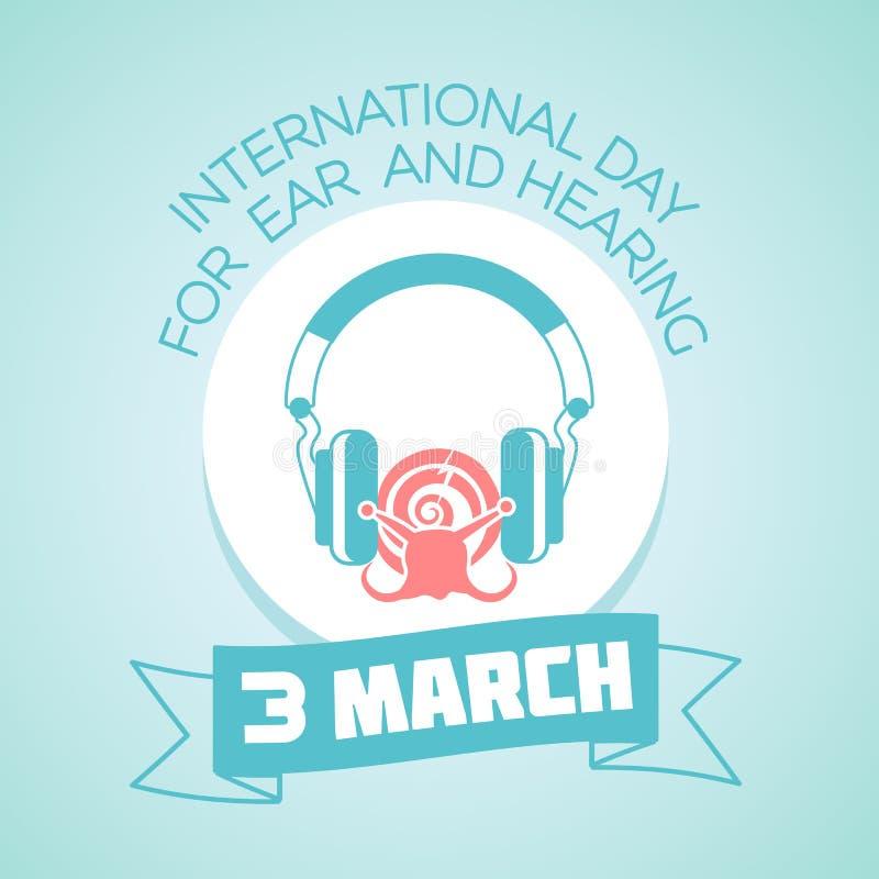3 Μαρτίου ημέρα για το αυτί και την ακρόαση ελεύθερη απεικόνιση δικαιώματος