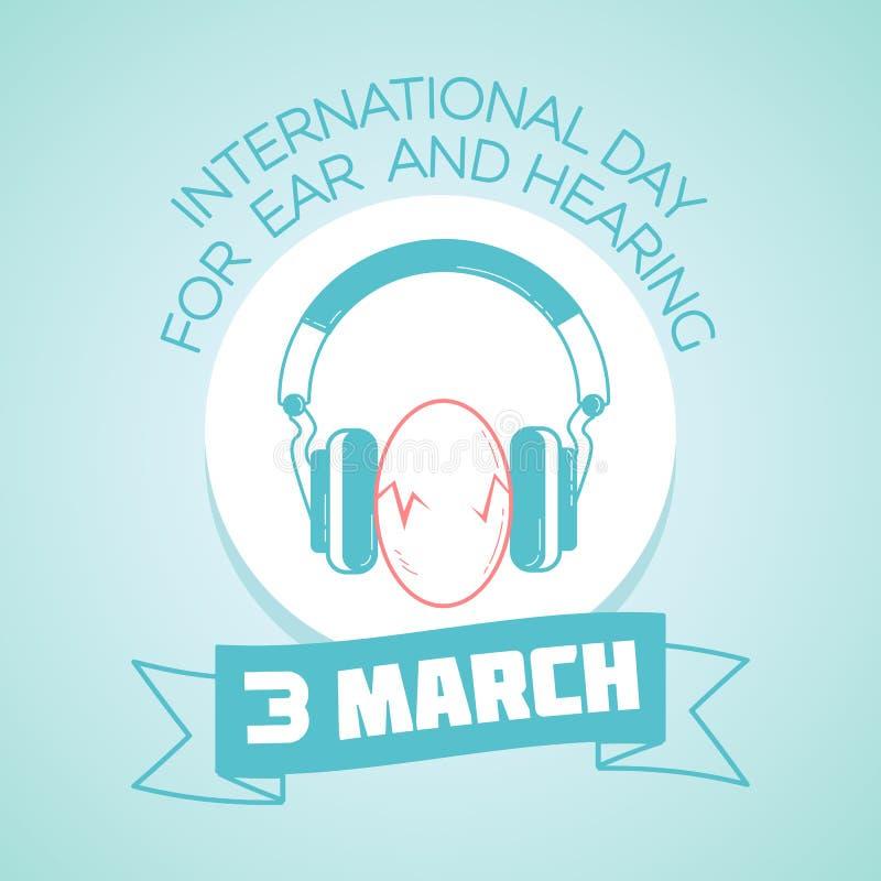 3 Μαρτίου διεθνής ημέρα για το αυτί και την ακρόαση απεικόνιση αποθεμάτων