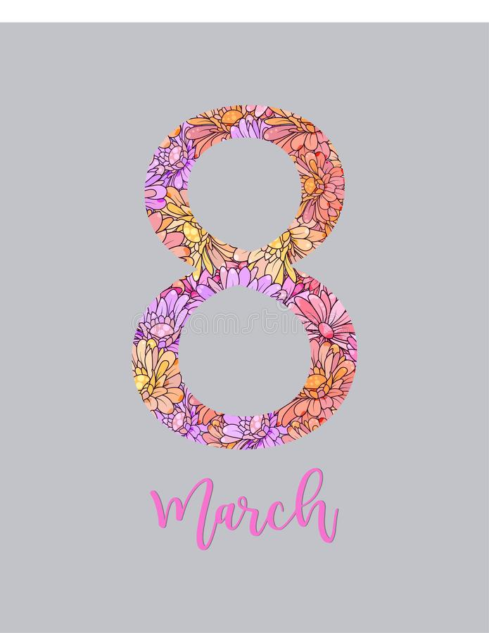 8 Μαρτίου μπλε floral χαιρετισμός σχεδίου καρτών Διεθνής ευτυχής ημέρα γυναικών s Καθιερώνον τη μόδα πρότυπο σχεδίου επίσης corel απεικόνιση αποθεμάτων
