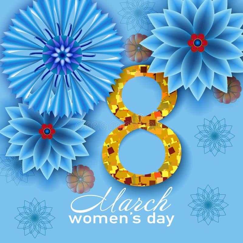 8 Μαρτίου μπλε floral χαιρετισμός σχεδίου καρτών στοκ εικόνες