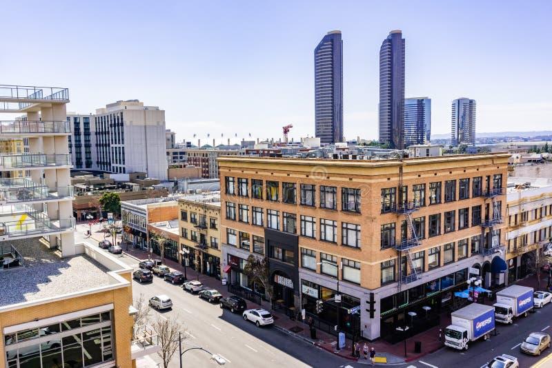 19 Μαρτίου 2019 Σαν Ντιέγκο/ασβέστιο/ΗΠΑ - αστικό τοπίο στο τέταρτο Gaslamp στο στο κέντρο της πόλης Σαν Ντιέγκο στοκ εικόνα