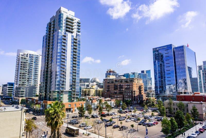 19 Μαρτίου 2019 Σαν Ντιέγκο/ασβέστιο/ΗΠΑ - αστικό τοπίο στο τέταρτο Gaslamp στο στο κέντρο της πόλης Σαν Ντιέγκο στοκ φωτογραφίες
