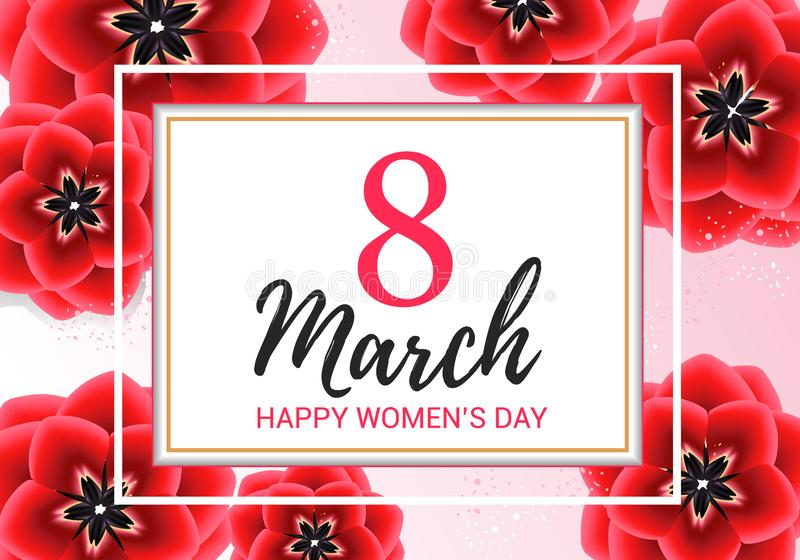 8 Μαρτίου χαιρετώντας με τα κόκκινα λουλούδια στο ρόδινο υπόβαθρο Των ευτυχών γυναικών διανυσματική απεικόνιση σχεδίου καρτών δώρ απεικόνιση αποθεμάτων