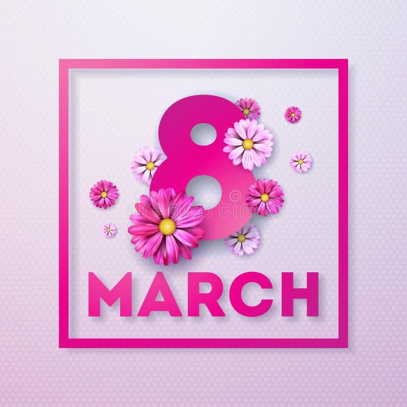 8 Μαρτίου Floral ευχετήρια κάρτα ημέρας των ευτυχών γυναικών Διεθνής απεικόνιση διακοπών με το σχέδιο λουλουδιών στο ρόδινο υπόβα απεικόνιση αποθεμάτων