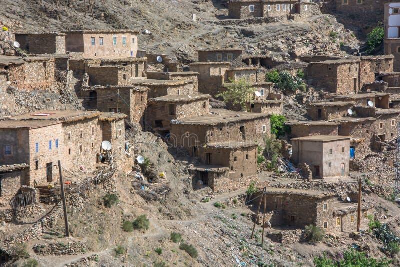 Μαρόκο, Μαρακές, σπίτια στην έρημο, με το γήινο χρώμα στοκ εικόνες