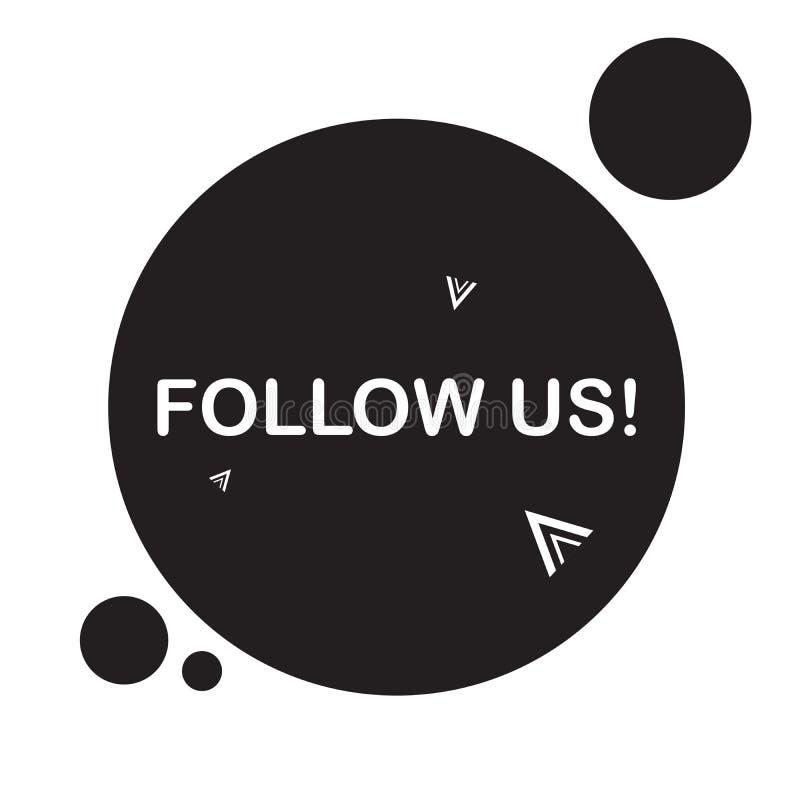 Μας ακολουθήστε ένα σύμβολο Ειδικό σημάδι προσφοράς Έξοχη προσφορά Μας ακολουθήστε ένα σημάδι Μάρκετινγκ και προωθητικές ετικέττε ελεύθερη απεικόνιση δικαιώματος