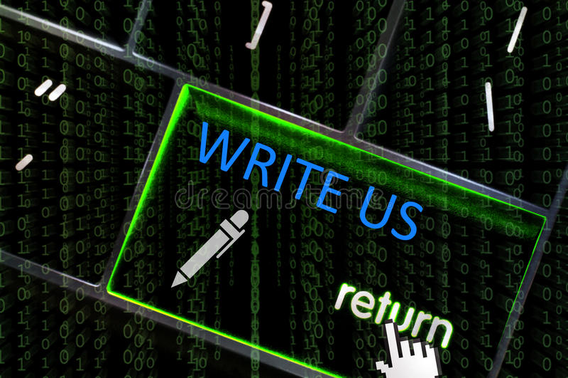 Μας γράψτε την έννοια με την εστίαση στα επιστροφής επιστρωμένα κουμπί WI στοκ φωτογραφία