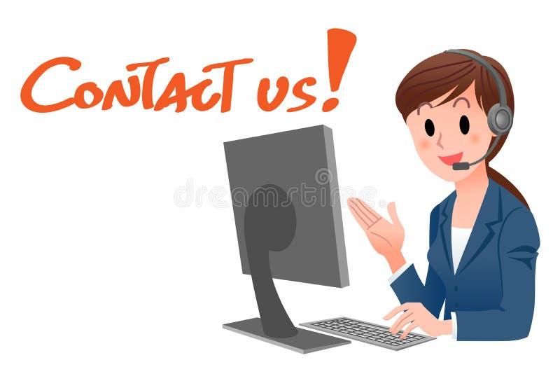 Μας ελάτε σε επαφή με! Αντιπρόσωπος εξυπηρέτησης πελατών διανυσματική απεικόνιση