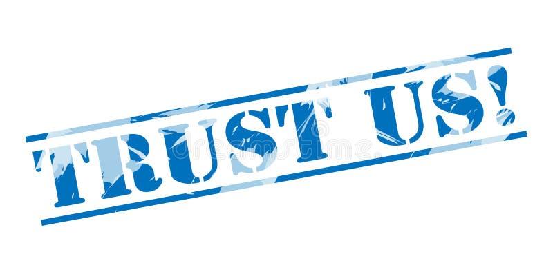 Μας εμπιστευθείτε μπλε γραμματόσημο ελεύθερη απεικόνιση δικαιώματος