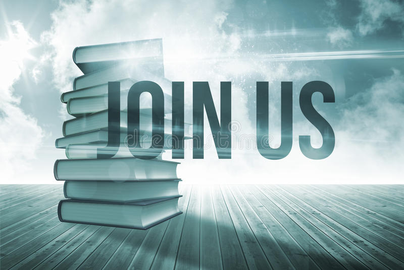 Μας ενώστε ενάντια στο σωρό των βιβλίων ενάντια στον ουρανό ελεύθερη απεικόνιση δικαιώματος