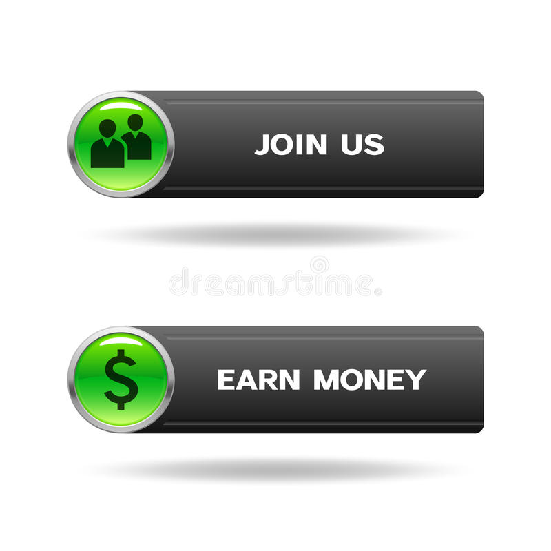 Μας ενώστε και κερδίστε τα κουμπιά χρημάτων ελεύθερη απεικόνιση δικαιώματος