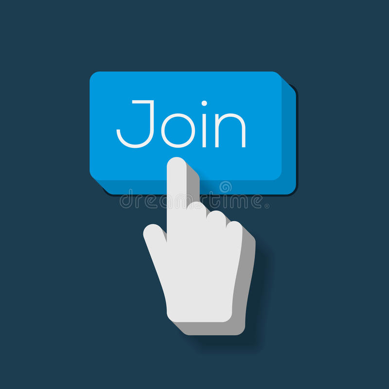 Μας ενώστε κουμπί με διαμορφωμένο το χέρι δρομέα απεικόνιση αποθεμάτων