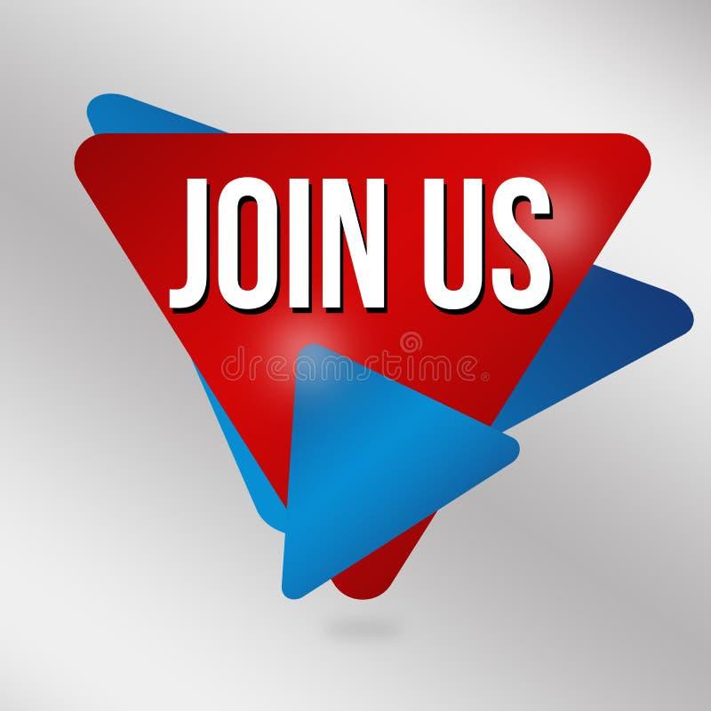 Μας ενώστε σημάδι ή ετικέτα για την επιχειρησιακή προώθηση ελεύθερη απεικόνιση δικαιώματος