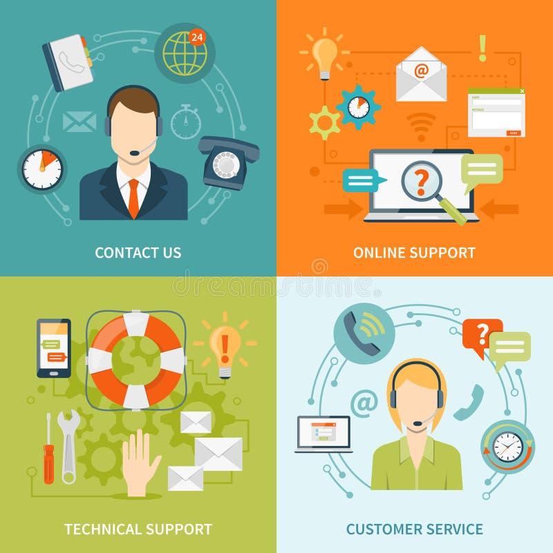 Μας ελάτε σε επαφή με επίπεδα εικονίδια υποστήριξης πελατών 2x2 καθορισμένα απεικόνιση αποθεμάτων