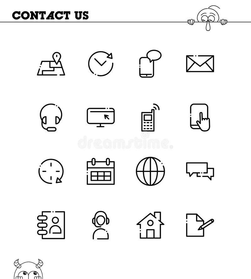 Μας ελάτε σε επαφή με οριζόντια σύνολο εικονιδίων απεικόνιση αποθεμάτων