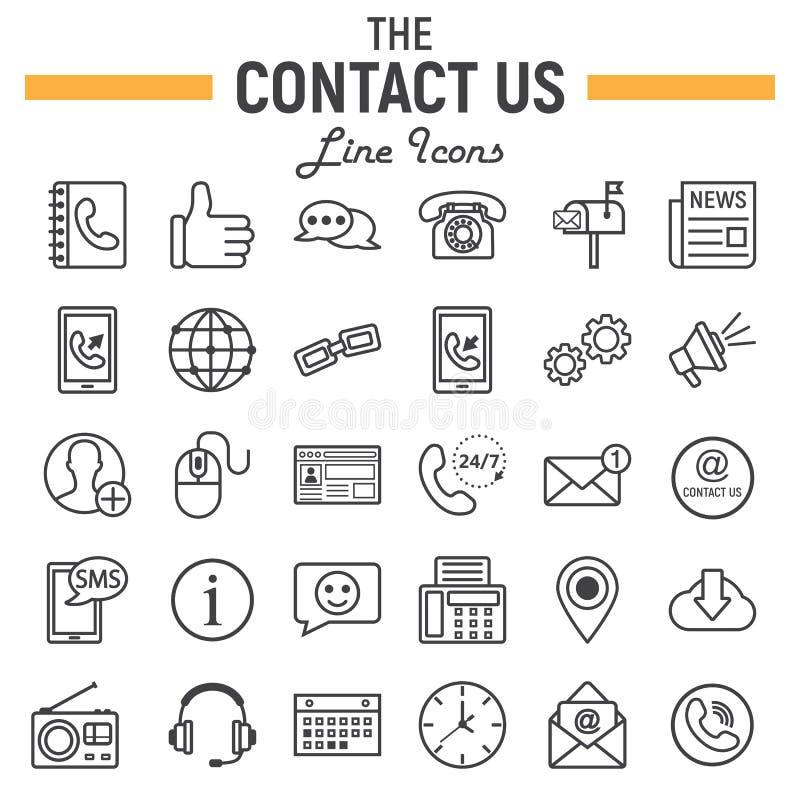 Μας ελάτε σε επαφή με σύνολο εικονιδίων γραμμών, σημάδια κουμπιών Ιστού διανυσματική απεικόνιση