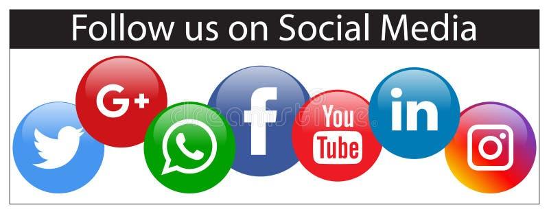 Μας συνεχίστε το κοινωνικό έμβλημα μέσων διανυσματική απεικόνιση