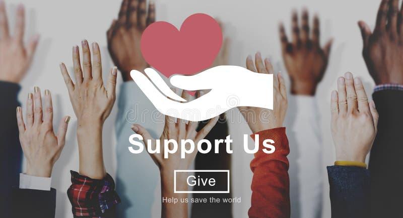 Μας υποστηρίξτε εθελοντική έννοια δωρεών ευημερίας στοκ εικόνες