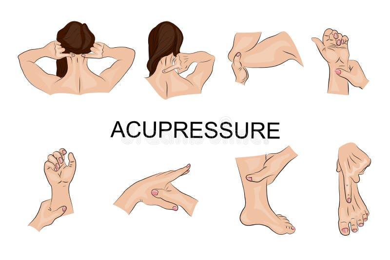 Μασάζ σημείου το σώμα συνδέει κάθε ένα που αγκαλιάζει άλλα μέρη σχετικά με διανυσματική απεικόνιση