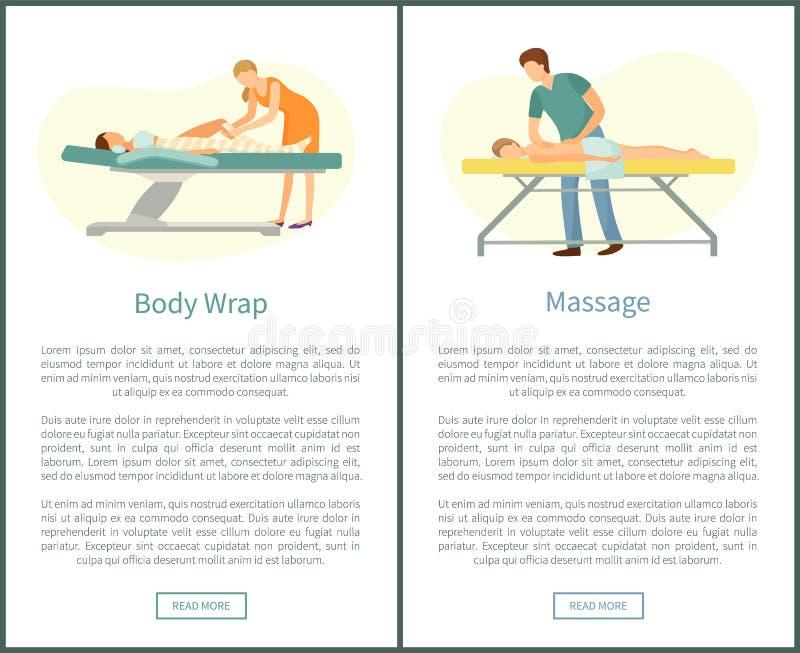 Μασέρ διαδικασιών μασάζ και Chocolate Body Spa διανυσματική απεικόνιση