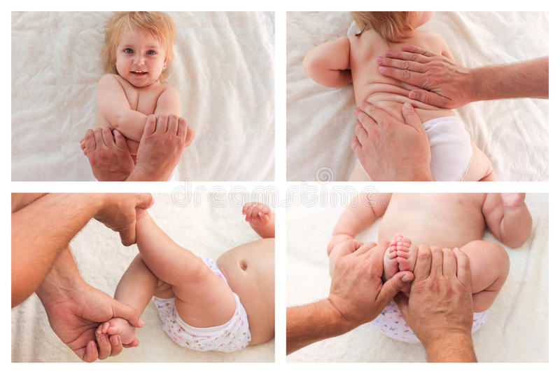 Μασέρ κολάζ που κάνει το μασάζ και τη γυμναστική λίγο μωρό στοκ φωτογραφία με δικαίωμα ελεύθερης χρήσης