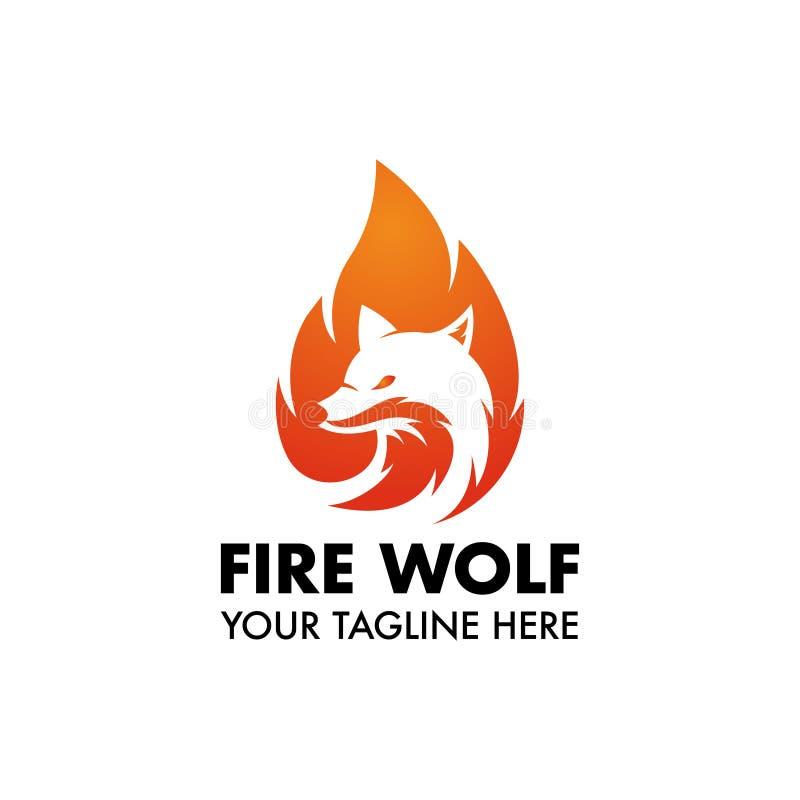 Μασκότ ή λογότυπο λύκων πυρκαγιάς για το σχέδιο ή την επιχείρησή σας ελεύθερη απεικόνιση δικαιώματος