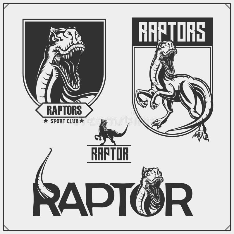 Μασκότ δεινοσαύρων αρπακτικών πτηνών Εμβλήματα και λογότυπα αρπακτικών πτηνών για την αθλητισμός-λέσχη Σχέδιο τυπωμένων υλών για  απεικόνιση αποθεμάτων