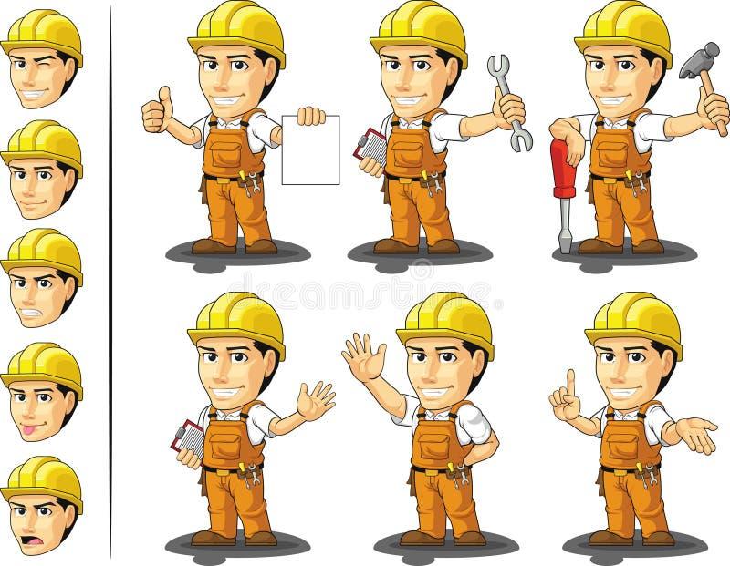 Μασκότ 2 εργατών οικοδομών Ndustrial ελεύθερη απεικόνιση δικαιώματος