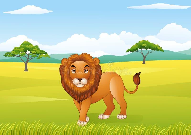Μασκότ λιονταριών κινούμενων σχεδίων διανυσματική απεικόνιση