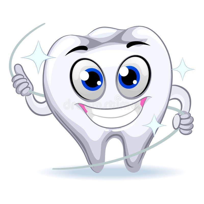 Μασκότ δοντιών που κρατά το οδοντικό νήμα ελεύθερη απεικόνιση δικαιώματος