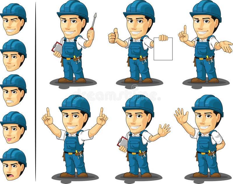 Μασκότ 3 τεχνικών ή επισκευαστών διανυσματική απεικόνιση