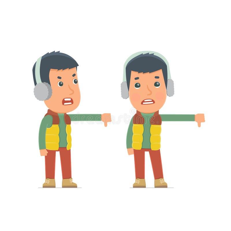Ματαιωμένος και 0 χειμερινός πολίτης χαρακτήρα που παρουσιάζει αντίχειρα κάτω ελεύθερη απεικόνιση δικαιώματος