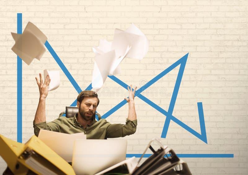 Ματαιωμένο επιχειρησιακό άτομο που ρίχνει το έγγραφο στο άσπρο κλίμα με την μπλε γραφική παράσταση διανυσματική απεικόνιση