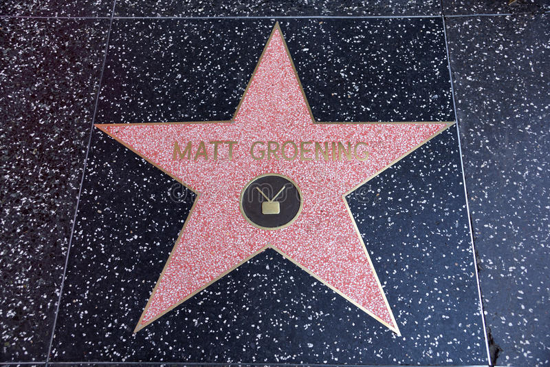 Ματ Groening, δημιουργός του Simpsons, αστέρι στο Hollywood Wa στοκ φωτογραφία με δικαίωμα ελεύθερης χρήσης