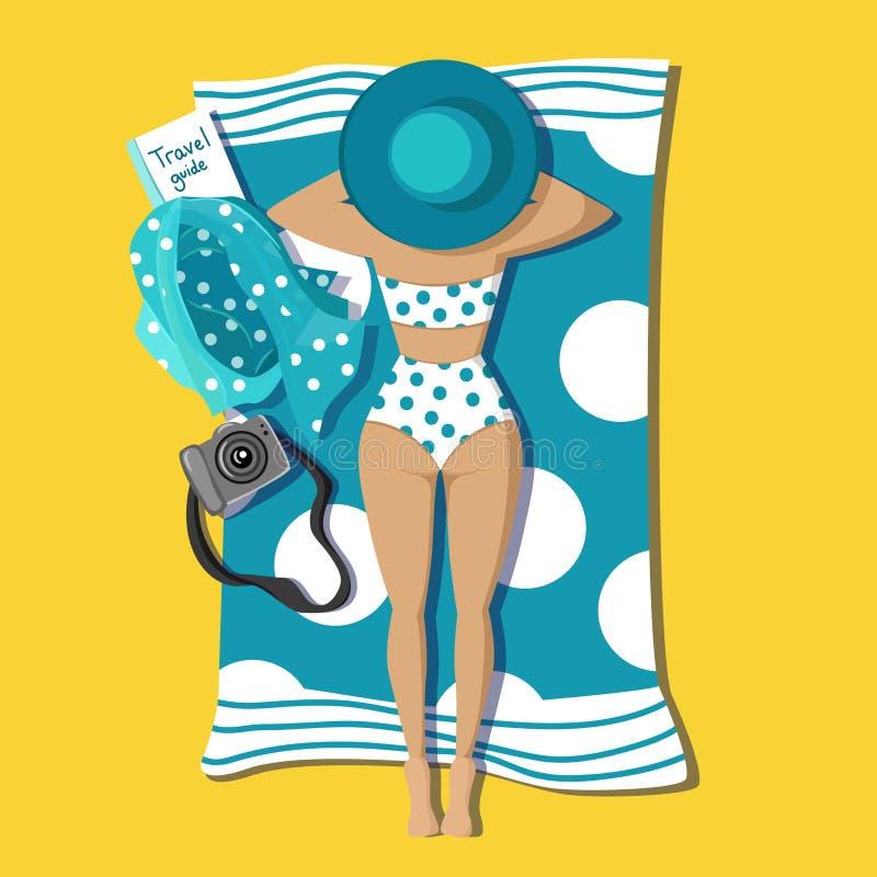 Μαυρισμένο όμορφο νέο κορίτσι που βρίσκεται στην παραλία απεικόνιση αποθεμάτων