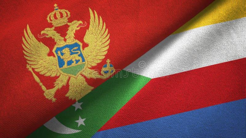 Μαυροβούνιο και Κομόρες δύο υφαντικό ύφασμα σημαιών, σύσταση υφάσματος απεικόνιση αποθεμάτων