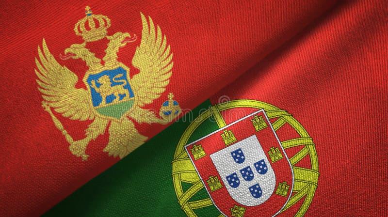 Μαυροβούνιο και Πορτογαλία δύο υφαντικό ύφασμα σημαιών, σύσταση υφάσματος διανυσματική απεικόνιση