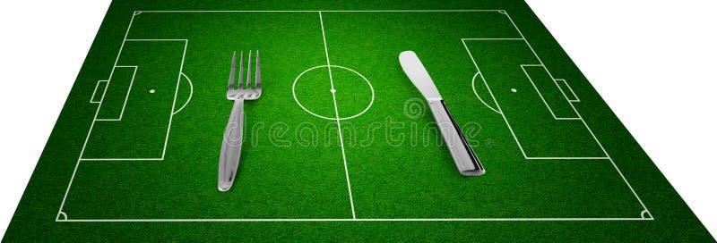 μαχαίρι δικράνων ποδοσφαίρου πεδίων έννοιας ελεύθερη απεικόνιση δικαιώματος