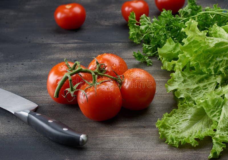 Μαχαίρι κουζινών στον πίνακα με τα λαχανικά στοκ φωτογραφίες με δικαίωμα ελεύθερης χρήσης