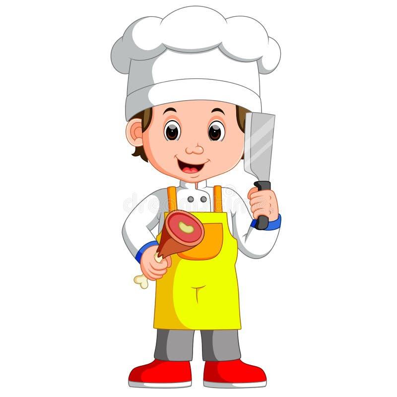 Μαχαίρι μπαλτάδων εκμετάλλευσης Cook αρχιμαγείρων και κινούμενα σχέδια χαμόγελου κρέατος απεικόνιση αποθεμάτων